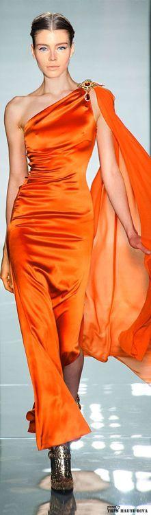 Couture Fashion, Runway Fashion, High Fashion, Orange Fashion, Glamour, Orange Is The New Black, Orange Dress, Beautiful Gowns, Lady