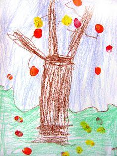 Kindergarten Art Project - Finger Painting Fall Trees