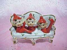 *SUPER RARE VTG * Japan Christmas Santa Elf Pixie Boys on Couch / Chair Figure | eBay