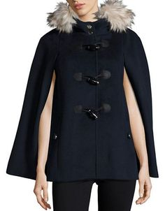 Eliza J Toggle-Front Wool-Blend Cape Women's Navy Small