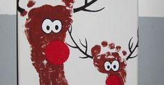 Rentier Bild Fußabdrücke foodprint rendier basteln malen kinder kunst keilrahmen braun Geweih Weihnachten Christmas Rudolph Geschenk Idee DIY Handmade Selfmade Handabdruck Kinder Baby Erinerung Acrylfarbe Wasserfarbe rot