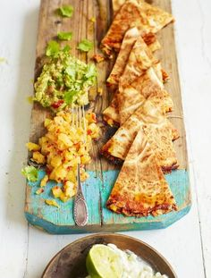 Jamie Oliver's Mexican Quesadillas. This is a vegetarian Mexican quesadillas recipe. Quick, easy and super tasty.