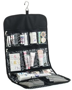 Hanging Toiletry Bag for Women ODESSA. Ideal for Storing Cosmetics, Makeup and Jewelry in an Organized Way. Large Size, Various Compartments. Black with White Polka Dots. ODESSA Home http://www.amazon.com/dp/B013G4SMWE/ref=cm_sw_r_pi_dp_GiyCwb1VANHVB