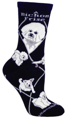 Bichon Frise Dog Black Cotton Ladies Socks - Sunset Key Chains