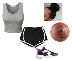 """Playing b ball with fam "" by nia-slay ❤ liked on Polyvore featuring LE3NO and NIKE"