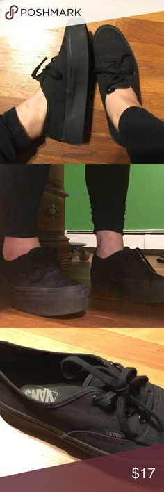All black authentic platform vans These super cute all black platform vans have only been worn 3 times and are super comfy! Vans Shoes Sneakers