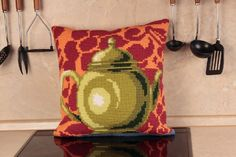 Collection d'Art:5.012 - Pot a The Bronze - Easy to stitch large count cross stitch cushion kit - On Sale Now - 40% Discount - Original Retail Price $40.00