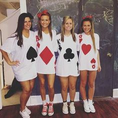 DIY halloween costume, kids costume, adult costume, group costume, cards, deck of cards, queen of hearts, queen of clubs, queen of spades, queen of diamonds, headiy costume, matching costumes, shoes, Chuck Taylor's, black make up, makeup, bofh paint, body makeup, Halloween make up, diy Halloween makeup, homemade Halloween costume, homemade costume, costume party, #afflink