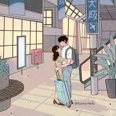 This Korean Artist Giving Serious Through His Illustration Drawing Happily ever after Art Love Couple, Love Cartoon Couple, Cute Couple Drawings, Anime Love Couple, Cute Anime Couples, Love Drawings, Love Art, Sweet Couples, Art And Illustration