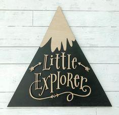 Little Explorer Large laser cut sign Explorer Nursery Woodland Nursery Decor, Nursery Wall Decor, Nursery Ideas, Nursery Art, Bear Nursery, Nursery Signs, Animal Nursery, Bedroom Ideas, Mountain Nursery