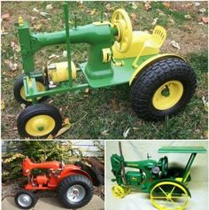 You will love this brilliant idea -- Repurpose an old sewing machine into a fantastic John Deer tractor . Sewing Machine Tables, Treadle Sewing Machines, Antique Sewing Machines, Bird Feeder Craft, Hand Sewing Projects, Sewing Ideas, Scrap Metal Art, Diy Couture, Diy Recycle