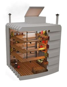 Root Cellar Designs, Eco Friendly Natural Cold Storage Solutions : root cellar design and storage organization Cheap Storage, Food Storage, Storage Organization, Storage Ideas, Underground Shelter, Underground Cellar, Cellar Design, Root Cellar, Earthship