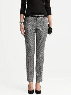 Camden-Fit Silver Jacquard Skinny Ankle Pant | Banana Republic