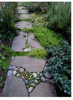 "Stone Mosaic / garden path - this may be my solution to the ""secret garden"" not having a path. Path Design, Garden Paths, Mosaic Garden, Backyard Garden, Garden Walkway, Outdoor Gardens, Dream Garden, Garden Inspiration, Garden Landscaping"