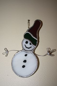 Stained Glass Snowman Ornament. $20