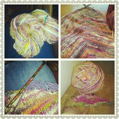 I designed this shawl called the Carnival shawl made from handspun yarn by me :)    http://www.ravelry.com/patterns/library/carnival-shawl