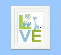 blue and green love nursery  Art Print 8x10 Baby by SugarInspire