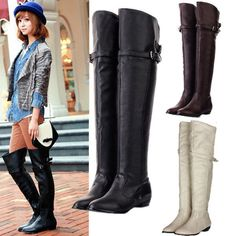 LADIES WOMENS THIGH HIGH FLAT WIDE CALF PULL ON OVER THE KNEE ...