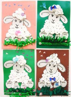 Поделка, изделие Гофротрубочки: Ох, уж эти овечки (шк. № 767 ГПД 2 кл.) Бумага гофрированная, Картон Пасха. Фото 1