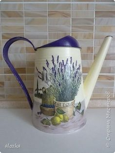 Декор предметов Декупаж На носу Новый Год а у меня леечки Металл фото 1 Decoupage, Watering Can, Diy And Crafts, Lavender, Canning, Vintage, Farmhouse, Bottles, Glass