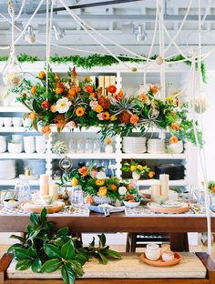 boho orange tablescape