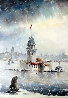 Nazan Özer Watercolour - Hobbies paining body for kids and adult Pour Painting, Painting On Wood, Painting & Drawing, Istanbul, Flag Art, Panel Art, Most Beautiful Pictures, Lighthouse, Watercolor Paintings