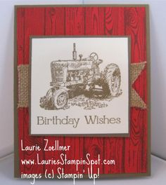 STAMPIN UP HARDWOOD- don't like the red, but would like design with another color -- maybe with barn scene instead of tractor
