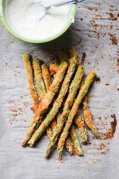 Baked Asparagus Fries with Lemon Pepper Mayo Healthy Vegetarian Food : Veggie Recipes, Vegetarian Recipes, Cooking Recipes, Healthy Recipes, Ham Recipes, Asparagus Fries, Baked Asparagus, Buffalo Wings, Lemon Pepper