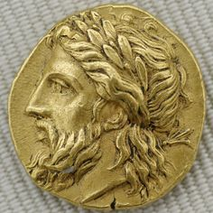 ca. 360-340 BCE. Greek gold coin (stater) of Laurel-Wreathed Zeus. Lampsacus, Mysie (ancient Turkey). The Mysians were related to the Lydians.