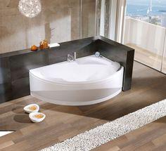 Une baignoire d'angle arrondie