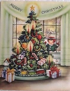 Vintage Mid Century Little Girl Peaks In Window At Xmas Tree Christmas Card Christmas Card Images, Vintage Christmas Images, Retro Christmas, Vintage Holiday, Christmas Greeting Cards, Christmas Pictures, Christmas Greetings, Kids Christmas, Christmas Crafts