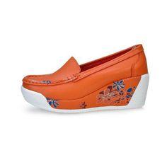 Leather Floral Print Color Match Soft Comfortable Wedge Heel Platform Shoes