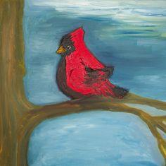 Cheerful cardinal oil painting #art for Grandpa Smiles children's book illustration