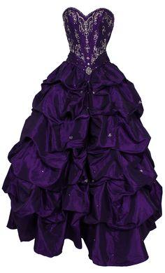 Dark purple prom dress. Full ball-gown skirt but too much embellishment.