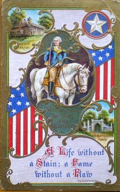 President, Washington, Patriotic, Postcard, Vintage, Horse, Mt Vernon, Father of our Country