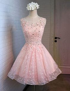 Prom Dresses Sexy Pink Homecoming Dress Homecoming Dress With Appliques Short Homecoming Dress Prom Dresses Lace Short Homecoming Dresses Junior Homecoming Dresses, A Line Prom Dresses, Prom Party Dresses, Prom Gowns, Sexy Dresses, Short Dresses, Dress Party, Graduation Dresses, Pink Dresses
