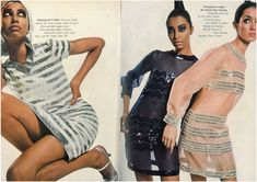 youthquakers: 1st March 1966 - UK Vogue | Donyale Luna, Peggy Moffit and Moyra Swann for UK Vogue 1966