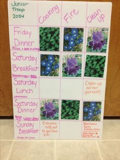 Girl Scout Camping Kaper Chart- two nights, three patrols-named after the flowers (also the yurt they are assigned) printed pictures of the flowers and covered with single sided laminated sheets for waterproofing! I am excited for our campout. I did also write what they are having for each meal on it!