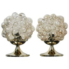Pair 1960s Helena Tynell for Limburg Amber Glass Bubble Table Lamps | From a unique collection of antique and modern table lamps at http://www.1stdibs.com/furniture/lighting/table-lamps/