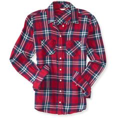 Aeropostale Long Sleeve Pocket Plaid Woven Shirt ($14) ❤ liked on Polyvore featuring tops, shirts, long sleeves, plaid, vibrant orange, cotton shirts, long sleeve plaid shirt, purple top, orange long sleeve shirt and aeropostale shirts