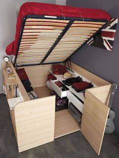 Bedroom. Bed with incredible storage.                                                                                                                                                                                 More
