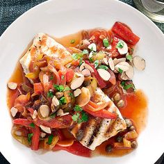 Grilled Halibut Steaks with Peperonata