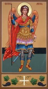 The Archangel Michael is given several roles in the Tradition and  Scriptures. He is the chief of the Archangels. He fights against Satan,  rescues and brings souls to judgement, and intervenes to help us in  times of need.