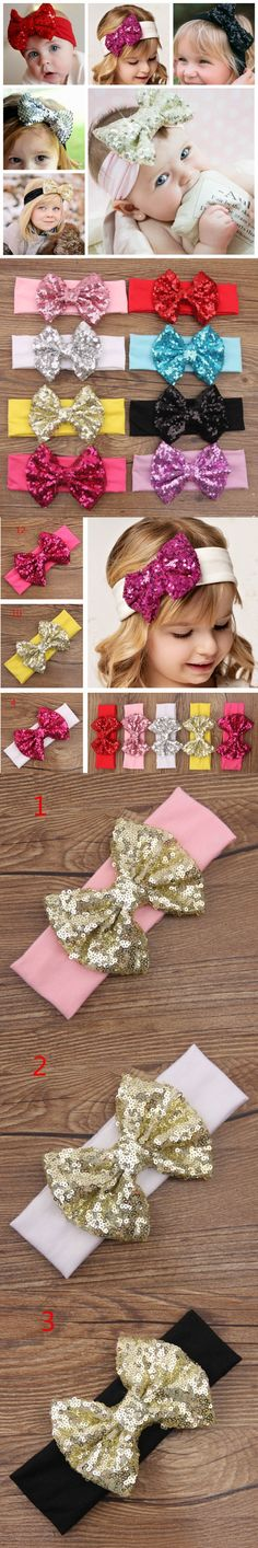 New Lovely Baby Headbands Boutique Sequin Bow With Cotton Hair bands Girl Headbands Baby Hair Accessories 10pcs/lot TD50 $17.99