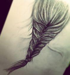 Sketch of the fishtail braid. Love this braid!