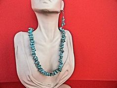 Turquoise Necklace & Bead Earrings Handmade Stone Jewelry Free Shipping