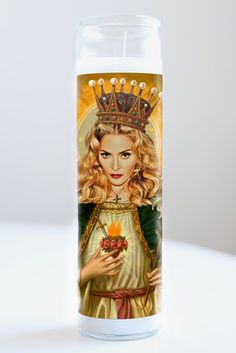 """Saint Madonna featured on Illuminidol's Texas-made 8"""" prayer candle. The most divine way to bless any Madonna disciple!  Texas Made 8"""" in height Unscented Ships anywhere in the US via Priority Mail International Shipping? Please contact info@illuminidol.com Custom and Wholesale options available  #madonna #vogue #material #girl #likeaprayer #likeavirgin #holiday #dance ##popular #famous #celebrities #pray #candles #art #beautiful #memes #blessed #lit #fire #lol #austin #texas #local…"""