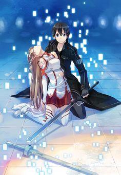 Asuna and Kirito - Sword Art Online Otaku Anime, Anime Bad, Manga Anime, Art Anime, I Love Anime, Awesome Anime, Sword Art Online Asuna, Kirito Sword, Arte Online