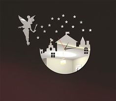 50%off Fairy and Castle Mirror Clock Wall Decal by EasyWallDecals $12.00
