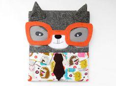 Ipad case / sleeve raccoon working boy with big by OneLittleRedFox. Ipad 1, New Ipad, Ipad Case, Forest Party, Michael Miller Fabric, New Glasses, Ipad Sleeve, Racoon, Tweed